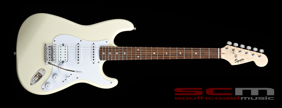 fender squier bullet hss fat strat electric guitar with tremelo arctic white south coast music. Black Bedroom Furniture Sets. Home Design Ideas