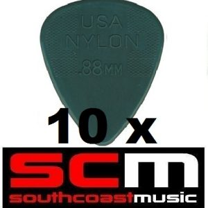 10 X .88mm NYLON  GREY  GUITAR PICKS by JIM DUNLOP 10 x PLECTRUMS