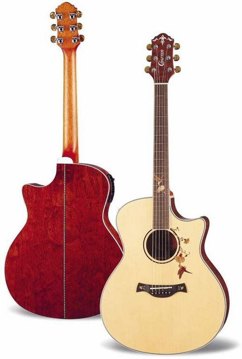 CRAFTER TB BUBINGA TWIN BIRD ACOUSTIC ELECTRIC GUITAR
