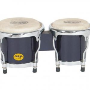 "PERCUSSION 4-5"" inch BLUE MINI BONGO DRUMS PAIR NATURAL SKINS BONGOS"
