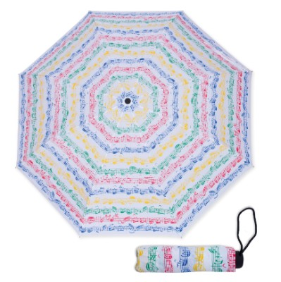 MINI TRAVEL UMBRELLA Multi Colour TREBLE CLEF MUSICAL NOTES with EASY CARRY POUCH