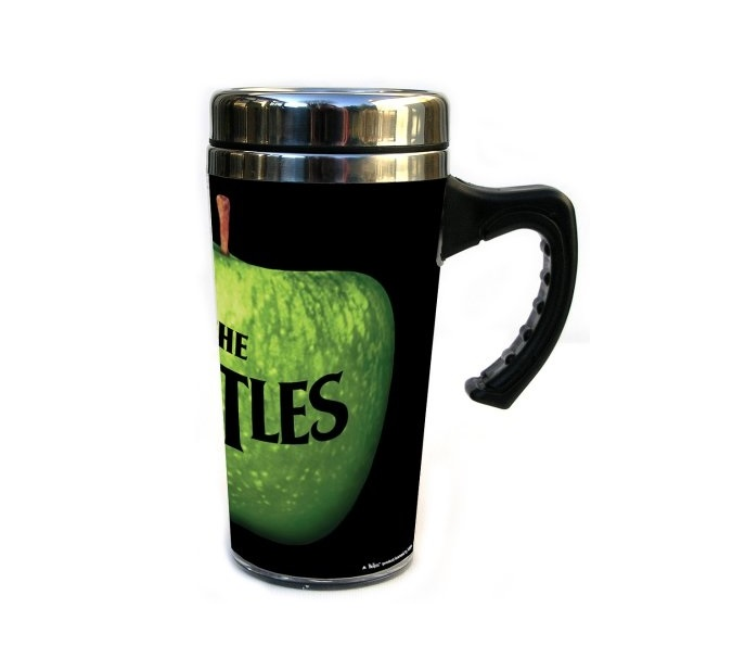 OFFICIAL LICENSED THE BEATLES APPLE LOGO STAINLESS STEEL TRAVEL MUG CUP