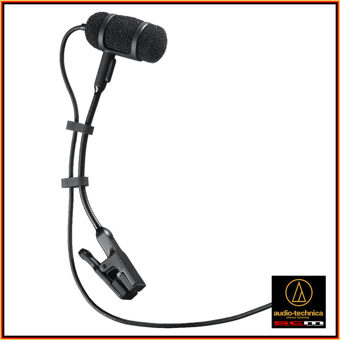audio-technica ATM-350CW cardioid instrument microphone with clip to suit brass, upright bass, reeds, piano, snare, toms, and violin. Terminated with a locking 4-pin connector for A-T UniPak® body-pack wireless transmitters.