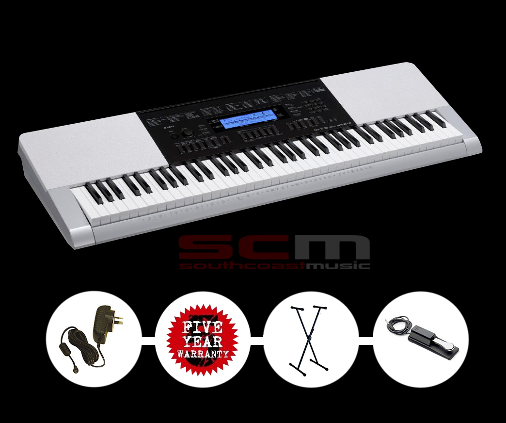 CASIO WK220 Portable Arranger Keyboard with BONUS KB Stand + AC adaptor + Piano style Sustain pedal 5 YEAR WARRANTY
