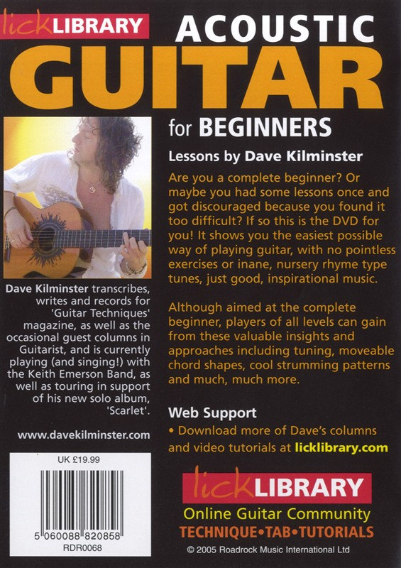 LICK LIBRARY ACOUSTIC GUITAR FOR BEGINNERS LEARN TO PLAY DVD TUITIONAL