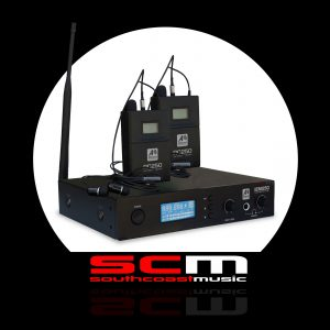 DUAL IN EAR MONITOR SYSTEM ASHTON IEM250 DUET TWO RC250 RECEIVERS + CARRY CASE
