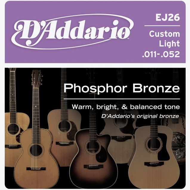 daddario ej26 acoustic strings CUSTOM LIGHT PHOSPHOR BRONZE