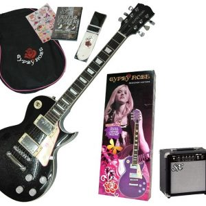 GYPSY ROSE GIRLS BLACK  LP ELECTRIC GUITAR & AMP AMPLIFIER PACK with STRAP BAG