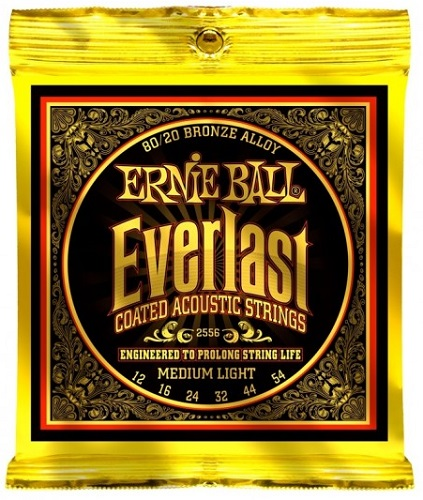 Ernie Ball E 2556 Acoustic Guitar String Set Everlast 12 to 54 Medium Light Strings